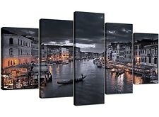 Extra Large Black and White Venice Grand Canal Italy - Canvas Split 5 Set - 5229