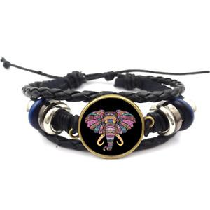 Mosaic Elephant Glass Cabochon Bracelet Braided Leather Strap Bracelets
