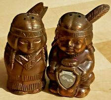 Native Man & Woman with Baby Carrier Mt Rushmore Pure Bronze Salt/Pepper Shakers