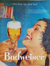 1957 Budweiser Beer Pretty Woman Black Bathing Swimming Cap Original Color Ad