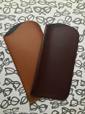 NEW Set Of 2 Reading Glasses / Sunglasses Pouch Sleeve Cases 1 x Brown 1 x Tan