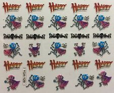 Nail Art 3D Decal Stickers Happy Halloween Skull Monster Skeleton YGA129