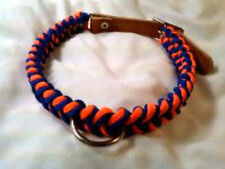 Paracord & leather Dog Collar  Hand made color  Blue & Orange size 16 - 20 inch