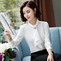 Women Ladies Business Shirt Office Formal OL Career Work Collar Blouse Wear Tops