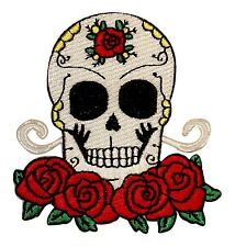 Sugar Skull Roses Patch Spanish Muertos Mexican Day of the Dead Iron-On Applique