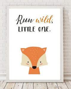 Run Wild Fox Nursery Bedroom Playroom A4 Print Poster PO106