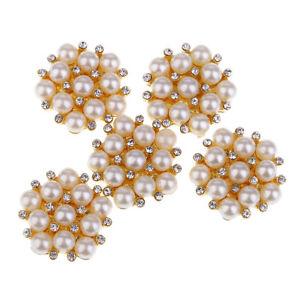 5x Rhinestone Pearl Buttons Flatback Embellishments DIY Wedding Bridal Decor
