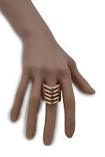New Women Ring Fashion Jewelry Gold Metal Chevron Stripes Finger Elastic Band
