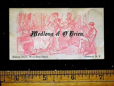 1870s-80s Medlong & O'Brien, Barber Shop Lovely Engraved Scene Trade Card F24