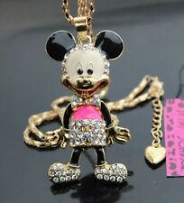 Betsey Johnson Necklace Hot Pink Mickey Mouse Legs Move Crystal Gold
