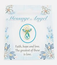 "MESSAGE ANGEL - SWAROVSKI CRYSTAL PIN / BROOCH - ""FAITH, HOPE & LOVE"""