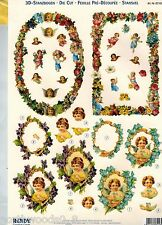 PRECUT ANGELS FRAME FLORAL CHERUB TOLE CARD DIMENSIONAL KIT ORNAMENT COLLAGE