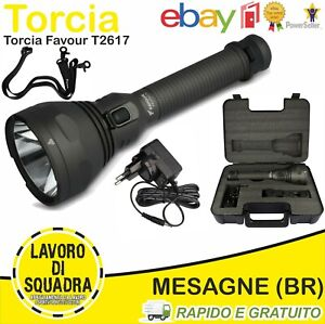 TORCIA LED T2617 PROTECH 1100 LUMENS 1 Km RICARICABILE FAVOUR Outdoor Security