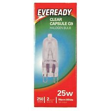 1 x Eveready G9 Eco 25W Halogen Capsule Bulb 250 Lumens 220V Clear Lamp