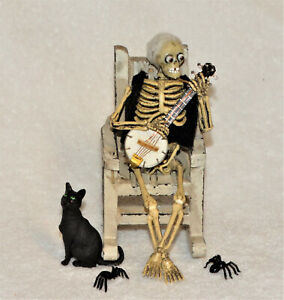"Dollhouse Miniature Halloween Skeleton ""DELIVERANCE BANJO GUY""-OOAK-Artist-5"" tl"