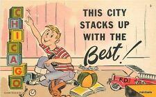 1940s Chicago Illinois Toy Blocks Humor artist impression Teich postcard 7730