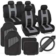 Rome Sport Set - 2 Tone Gray Black Car Seat Cover, Rubber Mat & Steering Cover