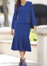 Monroe and Main Romantic Ruffle Skirt Suit Blue Church Dress Size 6 16 22W PLUS