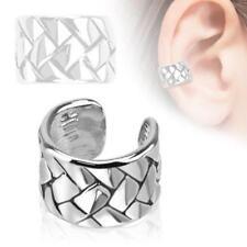 Weave Design Rhodium Plated Brass Ear Cuff