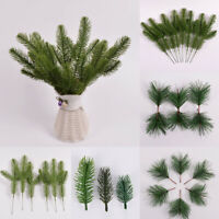 10Pcs Christmas Artificial Flower Pine Needles Cone Holly Branch DIY Xmas Wreath