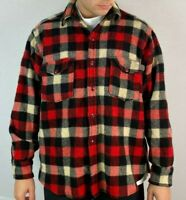 Vintage Woolrich USA Mens Medium M Buffalo Plaid Flannel Wool Button Up Shirt