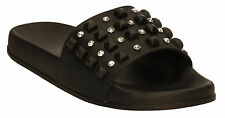 WOMENS LADIES STUDDED DIAMONDS MULES SLIDER FLAT SHOES SLIDES SLIPPERS SANDALS