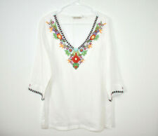 Soft Surroundings Linen Tunic Blouse Top Women's Small Embroidered White