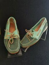 Ariat Women's  2 Tone Green Leather Suede Boat Shoes Moccasins Size 7
