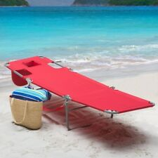 Outdoor Chaise Lounge Folding Reclining Red Pool Beach Water Patio Furniture New
