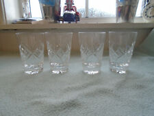 Four  Cut Crystal Drinks Glasses Acid etched Tudor Glass to the base