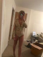Size 8 Dress Me Zee Gold Nude Sheer Mesh Glitter Bodycon Bodysuit Body New Chic
