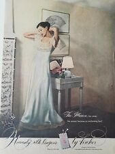1948 women's blue Illusion Heavenly silk lingerie by Fischer  vintage fashion ad