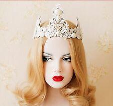 Lace White Crown Tiara Wedding Bead Punk Gothic Evil Snow Queen Cosplay Headband