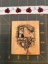 1999 PSX HORSE PONY IN STALL W/ SADDLE WOODEN RUBBER STAMP G-1874 LADYBUG
