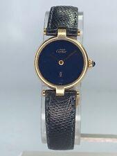 Must De Cartier 18k Gold Electroplated Lapis Lazuli Blue Swiss Ladies Watch