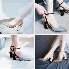 Womens Sequins Ankle Strap Stilettos Wedding High Heels Pointed Toe Party Shoes