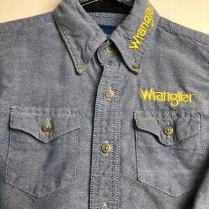Wrangler Boy's Long Sleeve Button Up Shirt XS 3-4 Blue Yellow Logo Spellout