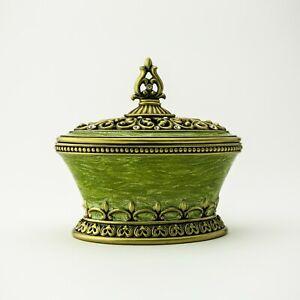 Green Trinket box hand made by Keren Kopal & Austrian crystals Faberge