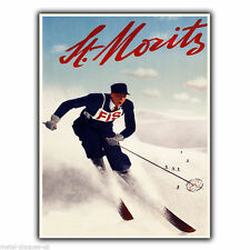 St. Moritz Switzerland Vintage Retro Travel Advert METAL WALL SIGN PLAQUE poster