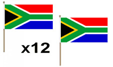 """Pack Of 12 South Africa Hand Flags 9 x 6"""" - Party Conferences Office Display"""