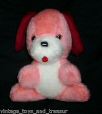 "7"" VINTAGE ACME BABY PINK & RED & WHITE PUPPY DOG PUP STUFFED ANIMAL PLUSH TOY"