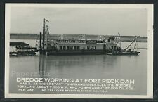 MT Glasgow RPPC 1930's DREDGE WORKING at FORT PECK DAM by Coles Studio No.222