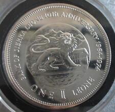 1974 Sierra Leone Large Proof Silver  1 Leone- Lion