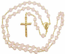 Pink matte glass heart shaped Catholic rosary beads necklace gold colour chain
