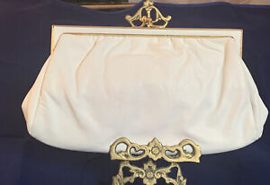 1960s ETRA Genuine Leather Evening Bag Purse  White Gold Accents Pop Out Chain