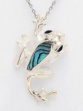 Sterling Silver Frog Abalone Pendant w/ Chain, 9""
