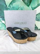 $550 JIMMY CHOO Paque Black Patent Leather Cork Wedge Sandals SZ 36 SALE NEW!