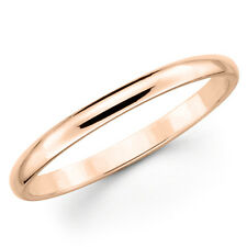 10K Solid Rose Pink Gold 2mm Plain Men's and Women's Wedding Band Ring