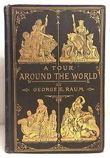 1886 Antique Tour Around the World Travel Exploration Adventure Gilt Bind * RARE