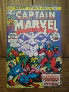 Captain Marvel #28 First Appearance of Eon! Classic Thanos Cover! VG+/FN- Grade!
